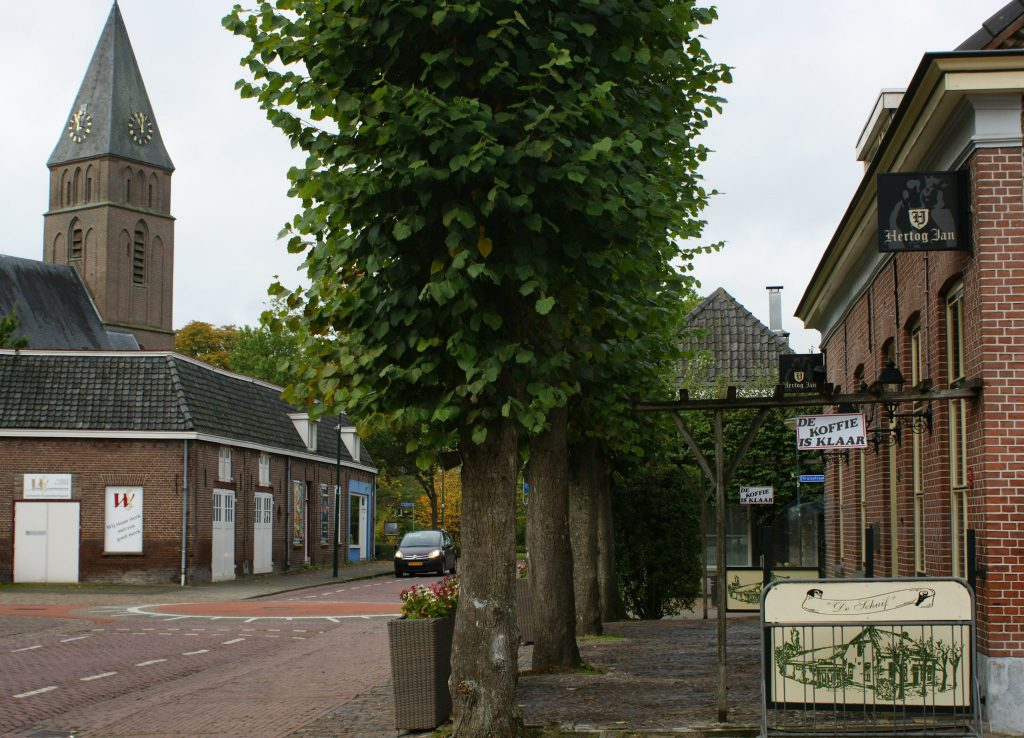 Gemonde - dorpsbeeld kerk en cafe dorpsstraat
